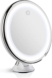 Fancii 10X Magnifying Makeup Mirror with True Natural Light, USB or Battery - 20 cm LED Lighted Travel Vanity Mirror, Dimmable Daylight and Locking Suction Cup (Luna)