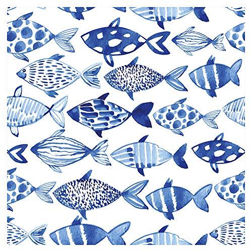 murando Vlies Tapete Fische - Deko Panel Fototapete Wanddeko 10 m Tapetenrolle Mustertapete Wandtapete modern design Dekoration - blau weiß g-B-0082-j-a