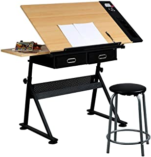 Yaheetech Height Adjustable Drafting Table Desk Drawing Table Desk with P2 Tiltable Tabletop, Stool and 2 Storage Drawers for Reading, Writing,Studying Art Craft Work Station