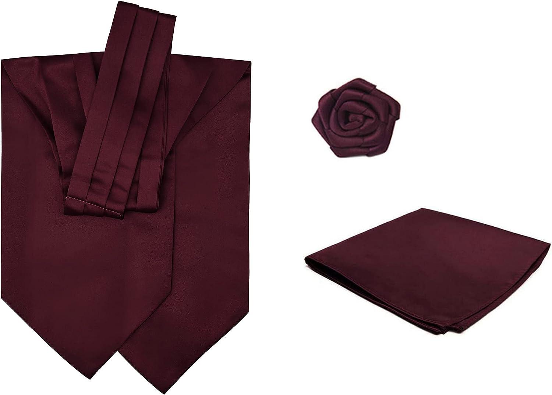 3 Piece Set: Jacob Alexander Men's Solid Color Cravat Ascot Neck Tie Open Rose Lapel Flower and Pocket Square