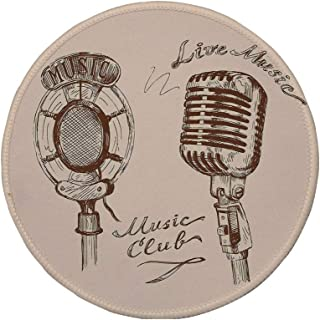 Non-Slip Rubber Round Mouse Pad,Jazz Music Decor,Old Fashioned Doodles with Waves and Vintage Microphone Print Retro Style Boho Decor,Brown Ecru,7.87