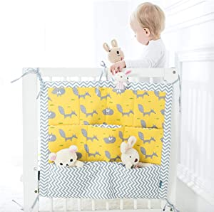 Tiny Alpaca Baby Crib Cot Bed Organiser with Pocket Hanging Diapers Essentials Clothes Toys Multi-Function Storage Bag  Squirrel