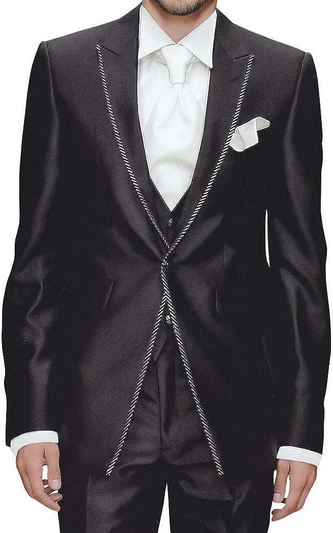 INMONARCH Mens Black Tuxedo Suit 6 Pc Peak Lapel TX272