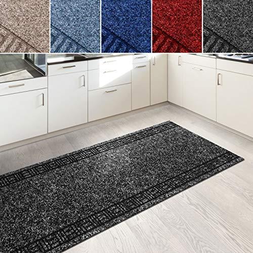 Floori Küchenläufer | strapazierfähiger Teppich Läufer für Küche, Flur UVM. | Flurläufer in vielen Größen wählbar | 66x700 cm | anthrazit