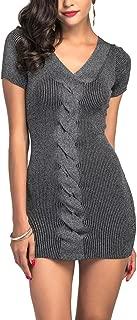 HSKS Women's Cable Knit Short Sleeves V-Neck Slim Hip Dress