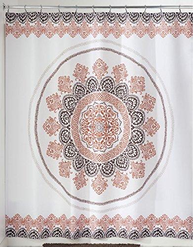 iDesign Ezra Medallion Duschvorhang   183,0 cm x 183,0 cm großer Vorhang für Badewanne und Dusche   Duschvorhang mit Ösen und tollem Muster   Polyester braun/bunt