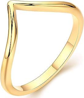 خاتم ذهب عيار 18 قيراط للنساء من جيمر خواتم ذهبية قابلة للتكديس هدية لها