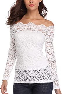 Women's Off Shoulder Tops Sexy Long Sleeve Lace Blouses Shirts