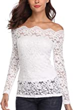 Dilgul Women's Off Shoulder Tops Sexy Long Sleeve Lace Blouses Shirts