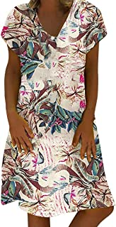 AmyDong Women's Cotton Linen Vintage Floral Printed V-Neck Short Sleeve Plus Size Casual Dress