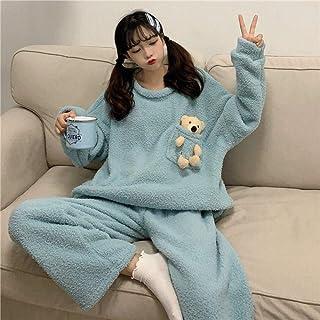 Pijamas Mujer Invierno, Conjuntos Pijama Coral Fleece Ropa para El Hogar Niñas Pijamas Pijamas Mujeres Oso Azul Muñeca Conjunto De Camisón Pijamas De Invierno