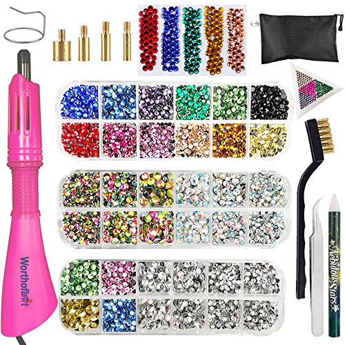 Hotfix Applicator, Hot Fix Rhinestone Setter Wand Tool, Hot-fix Bedazzle Kit, 4560 Pcs, AB Crystal, Rainbow, Clear, Colors, Tips, Manual, Tweezers, Tray, Gem Picker, Brush, Stand, Bag, 3 Jewel Sizes