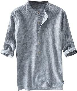 IHGTZS T-Shirts for Men, Fashion Men's Stripe Button Casual Linen and Cotton Long Sleeve Top Blouse