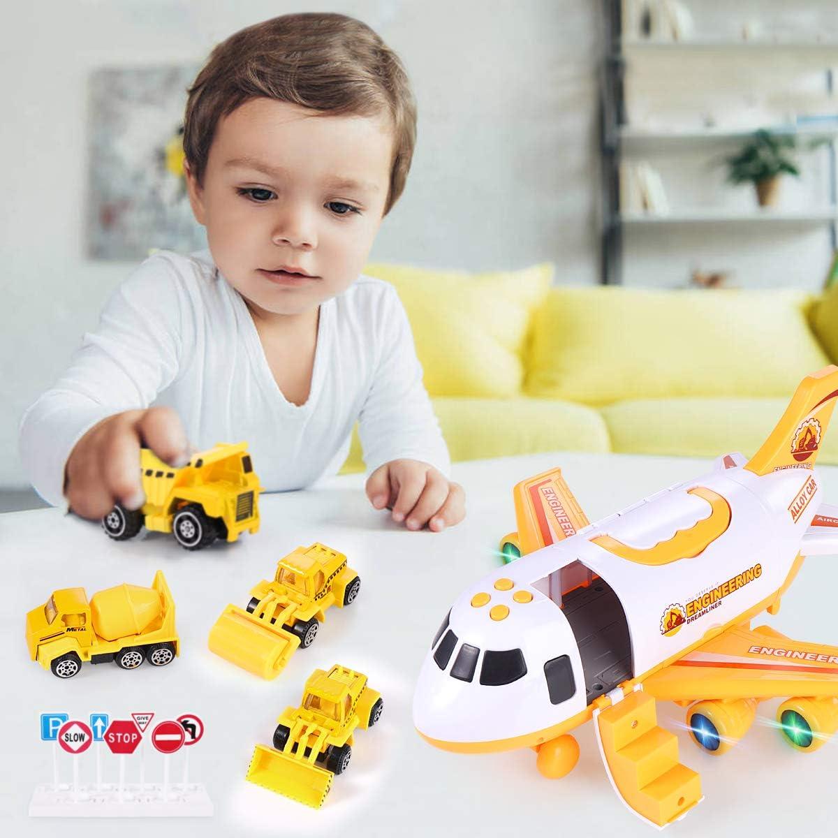 Aeroplano A Inerzia con Set di Giocattoli Educativi per Veicoli Camion Pompieri-Rosso SHANNA Aerei Giocattolo Bambini 1 Aereo Grandi Dimensioni 4 Auto in Lega Ragazzo Ragazze Regalo