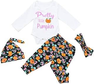 iLOOSKR Halloween Toddler Infant Baby Girls Boys Letter Pumpkins Bow Hat Romper Outfits Set