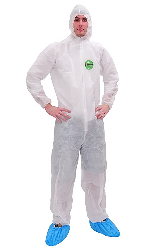 Raygard 30003 Disposable Dust Protective Polypropylene PP Coverall with Hood Chemical Suit Lightweight Elastic Cuffs, Ankles, Waist Zipper Front for Spray Painting Surgical Industrial(Large,White)