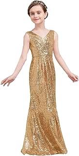 Ghdress Gold Sequins Flower Girls Dresses Long Mermaid Junior Bridesmaid Dress 01