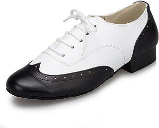CRC Men's Stylish Round Toe Lace Up Color Block Black/White Leather Salsa Tango Ballroom Morden Latin Jazz Rumba Professional Dance Shoes