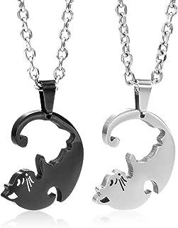 Couple adorable chat NOIR strass collier pendentif pour femmes Fashion Jewelry