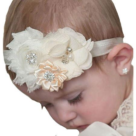 Golden June Bow Retro Baby Headband Bow Newborn Vintage Baby Girl Gift Hippie Baby Bow Girls 70s Flower Hair Clip Floral Boho Headband