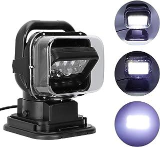 検索ライト、IP67防水50W 6500LM LEDポータブルカートラックリモートコントロールサーチライト6000K高輝度作業ランプマリンスポットライトヨットSUV用寿命50000時間以上のシーリングライト(ブラック)