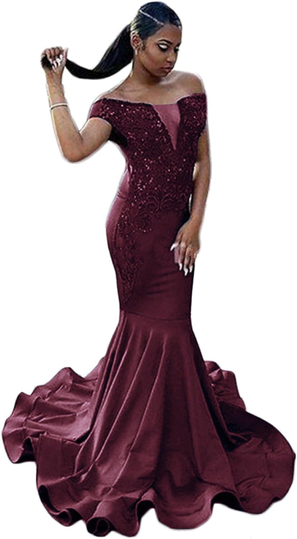 SDRESS Beaded Lace Appliques Cap Sleeve Off Shoulder Mermaid Prom Evening Dress