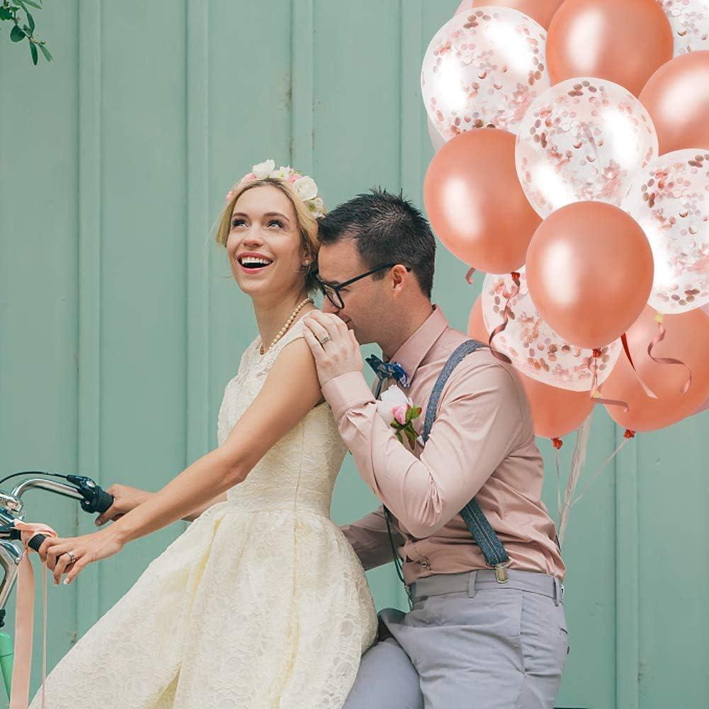 pour Fournitures de F/ête Mariage Anniversaire Bapt/ême rose Ballons Confettis Blanc et Rose Ballon Confettis Rose,60 Pi/èces Ballon Anniversaire