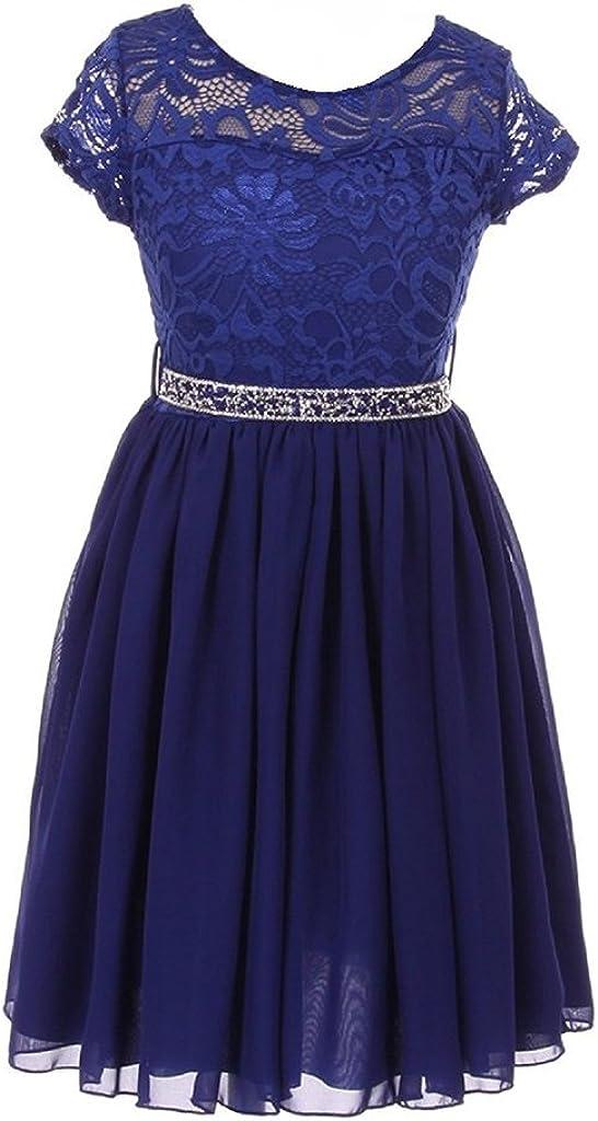 iGirlDress Girls Floral Lace and Chiffon Flower Girl Dress (Size 2-14)
