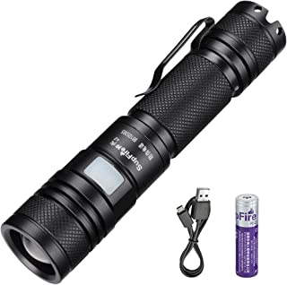 SupFire Zoomable Flashlight, Tactical Flashlight 950 High Lumens Cree Led with Rechargeable 18650 Battery and USB Torch Flashlight 5 Modes for Camping Cycling Night Jogging