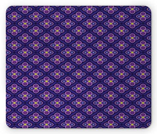 Abstracte muismat, geometrisch patroon van ruitjes met cirkels Symmetrische schoonheid Image, antislip rubberen muismat Indigo