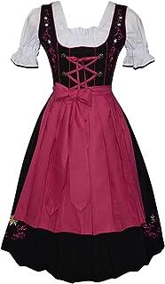 Edelweiss Creek 3-Piece Long German Oktoberfest Dirndl Dress, Black and Pink
