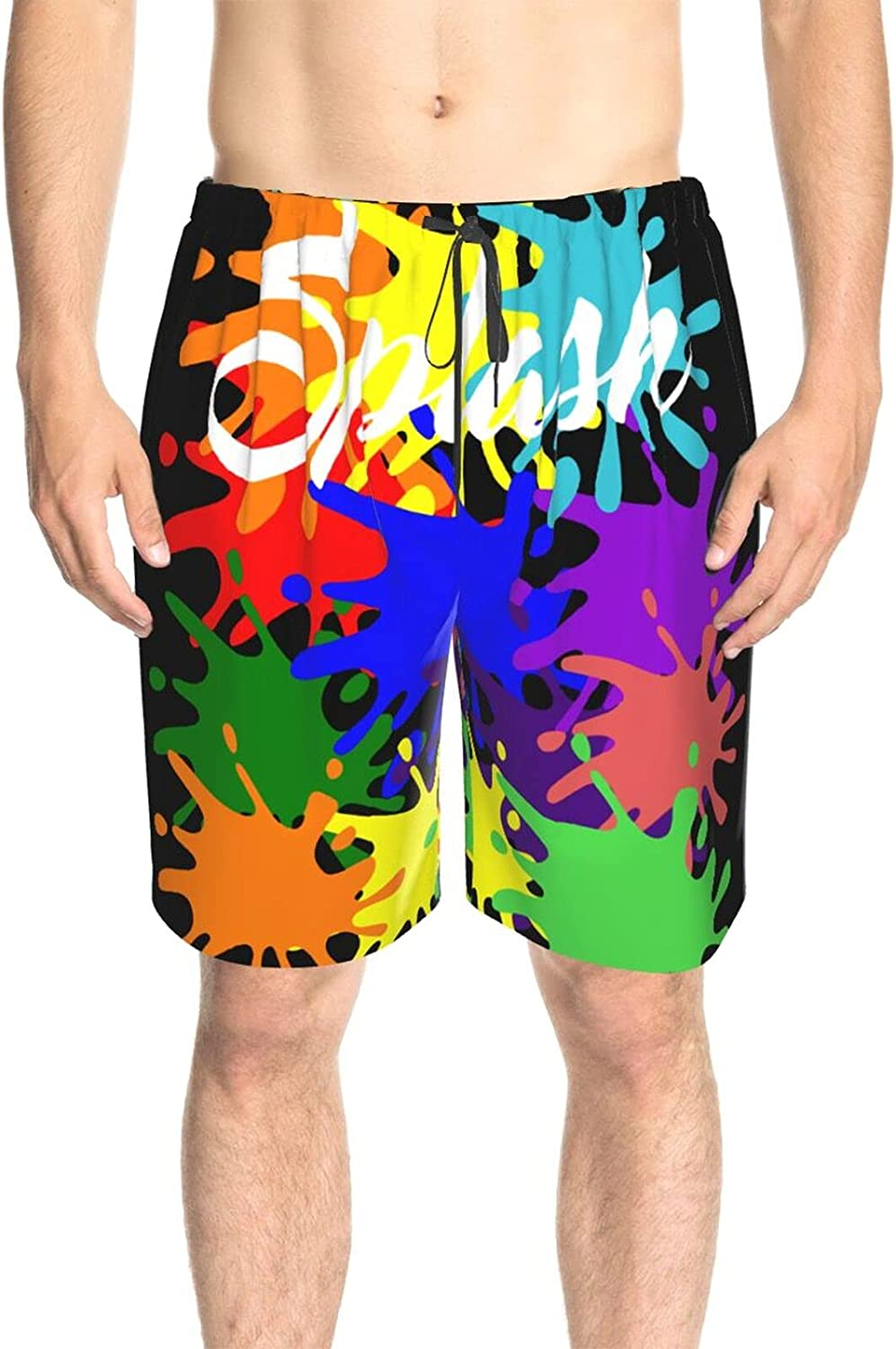 Mens Bathing Suits Colorful Graphic Splash Beach Board Shorts Quick Dry Comfy Swimwear Beach Shorts with Mesh Lining