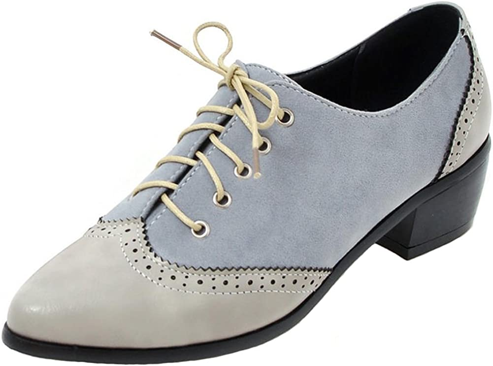 SaraIris Women Chunky Mid Heel Shipping included Lace Shoes Casual up Oxfor Brogue Our shop OFFers the best service