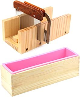 Peicees Adjustable Wooden Soap Loaf Cutter Mold + 2 Pieces Stainless Steel Cutters + Rectangle Silicone Mold with Wood Box