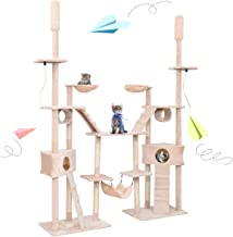 Tangkula Large Cat Tree, 71''x18''x 102.5'', Multi-Level Cat Tree House w/Scartching Post Towers, Pet Toy Balls and Ropes, Hammock Bed, Cat Condo w/Tunnels and Stairs