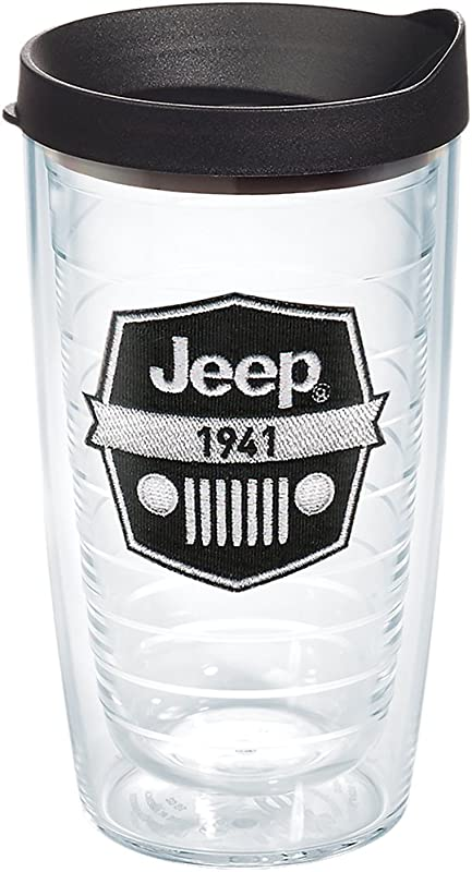 Tervis 1267876 Jeep Brand Logo Tumbler With Emblem And Black Lid 16oz Clear