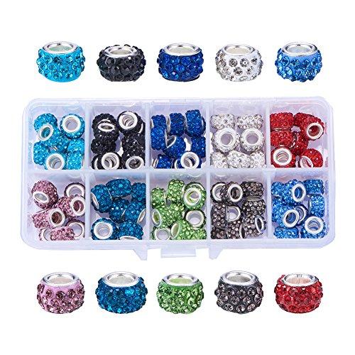 NBEADS 1 Schachtel À 100 Stück 10mm Charms Beads Perlem Europäische Perlen mit Großloch mit Strass Für Charm-Armbänder