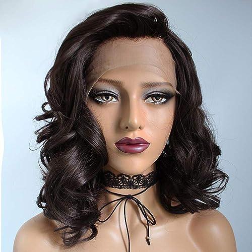 marca de lujo Fibra de de de alta temperatura Pelucas de pelo corto Peluca delantera rizada del cordón sintético negro para las mujeres negras Parece naturalmente temperamento 16 pulgadas  centro comercial de moda