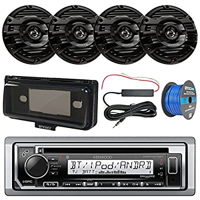 "Marine Audio Package: Kenwood KMRD372BT Marine CD Bluetooth Receiver, Radio Cover, Kenwood 6.5"" Marine Speakers, 10"" Woofer / Amplifier Combo, Amp Booster Kit, Install Kit, Speaker Wire"