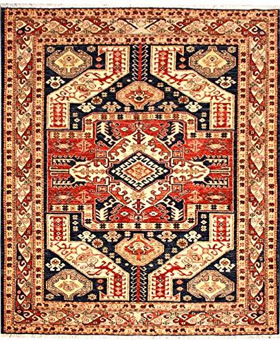 ETFA Kazak Teppich Orientteppich - 200x146 cm - Blau - LAGERVERKAUF