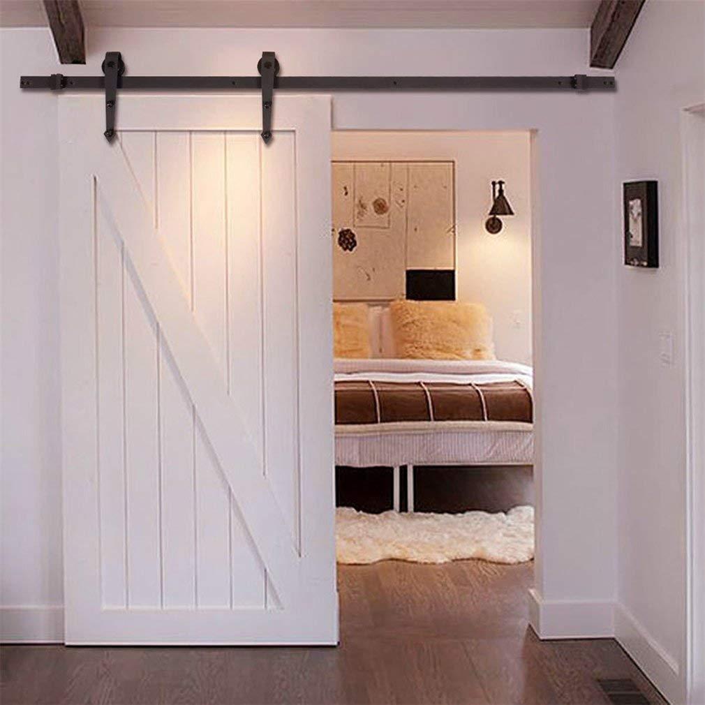 Homgrace - Barra de acero inoxidable para colgar puertas correderas de granero de 183 cm, kit de accesorios para puertas interiores de madera única, color café: Amazon.es: Bricolaje y herramientas