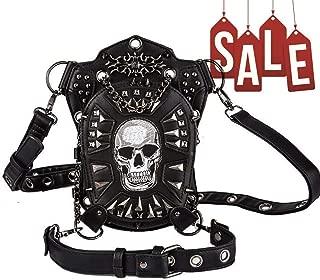 Amazon Cyber Sales Monday Deals & Sales- Steam Punk Waist Bag Fanny Pack Leather Shoulder Bag Satchels Thigh Leg Hip Holster Purse Pouch Travel Chain Messenger Bag Hiking Packs for Women Men