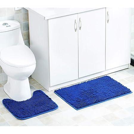 Ensemble de tapis de bain 2 pièces Ensemble de piédestal antidérapant Tapis de salle de bain, absorbant l'eau, tapis de baignoire, tapis de piédestal de toilette en forme de U, tapis de douche (bleu)