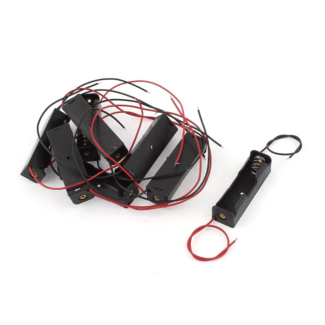 Sourcingmap® 8 pcs 2 Cables de plástico Negro de la batería AA de 1,5V Soporte Caja de celda para DIY: Amazon.es: Electrónica