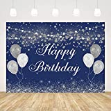 Ticuenicoa Happy Birthday Backdrop for Adults Glitter Blue Birthday Background for Men Blue and Silver Balloon Happy Birthday Background for Photography Birthday Photo Booth Props Banner 5x3ft