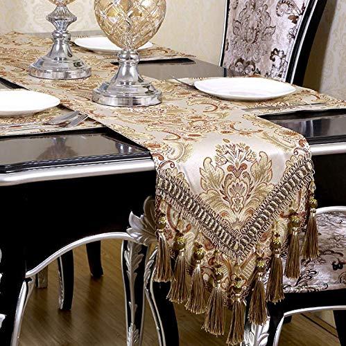 Moderne Jacquard Damask Bloemen Tafellopers en Dressoir Sjaals met Multi-kwasten, 30 * 180cm/30 * 200cm/30 * 220cm, Lengte beschikbaar, Beige