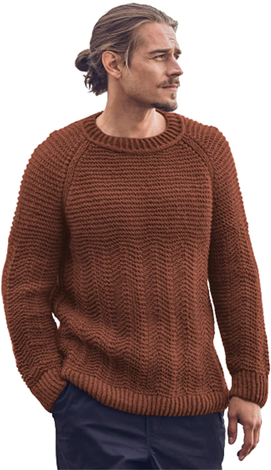 EverNight Mens Crew Neck Knitted Jumper,Casual Slim Fit Knitted Pullover,Winter Solid Colour Ribbed Jumpers Sweater for Men