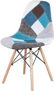 Un juego de 4 sillas de comedor de estilo medieval nórdico, soporte de metal de madera de haya, apto para cocina y comedor (color: azul)