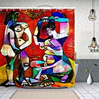 シャワーカーテンピカソによる有名な絵画の代替複製は、現代で設計された抽象的なカンディンスキーを適用しました 防水 目隠し 速乾 高級 ポリエステル生地 遮像 浴室 バスカーテン お風呂カーテン 間仕切りリング付のシャワーカーテン 150 x 180cm
