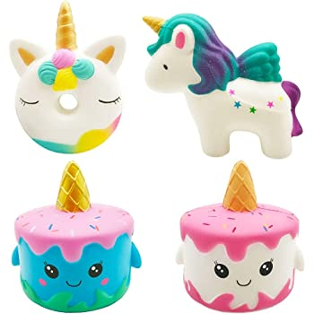 Slow Rising Jumbo Kawaii Creamy Scent White Unicorn Mousse Cake Squishy Toy for Parties Stress ADHD ADD Anxiety Autism Complimentary Magical Unicorn Children EBook The Legendary Kids Life Squishies